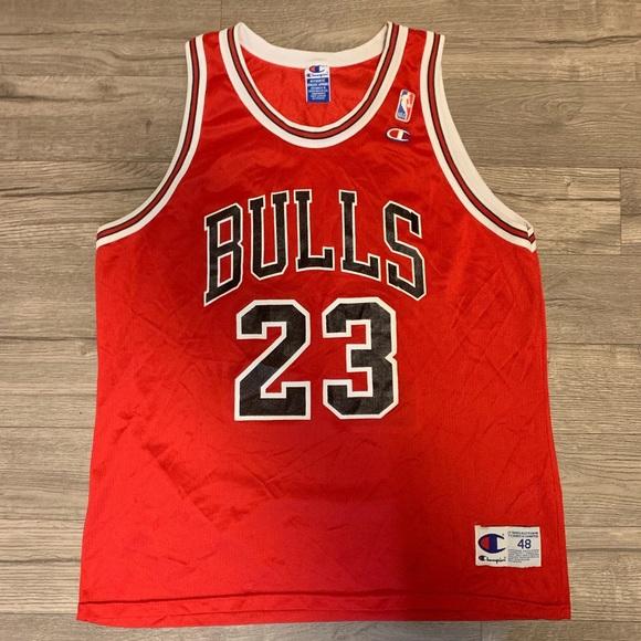 info for 40e36 0bf64 Vintage champion bulls jersey Jordan